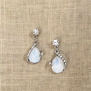 OPAL CRYSTAL RGLD TEAR DROPS EARRINGS