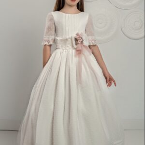 White plumetti Organza Communion Dress with delicate tucks and 3/4 sleeves