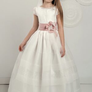 White Organza Communion Dress with delicate plumetti, tucks and short sleeves