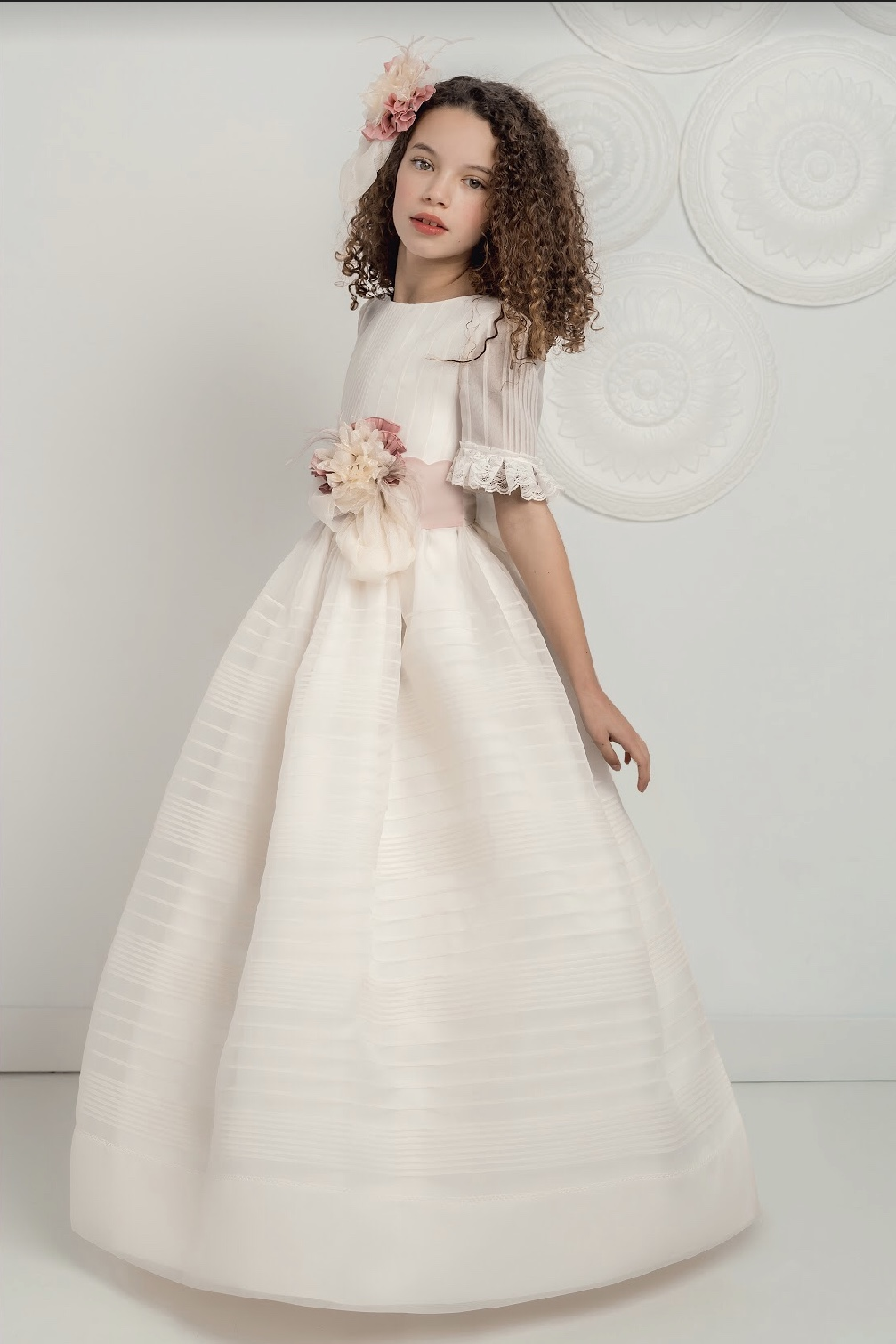 White Organza Communion Dress with delicate tucks and 3/4 sleeves