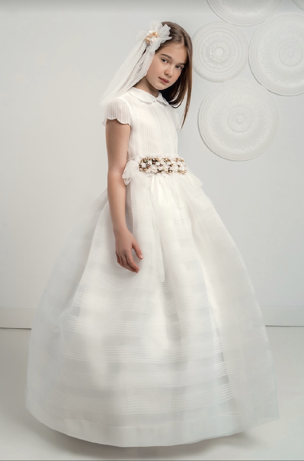 White Organza Communion Dress with delicate tucks and short sleeves